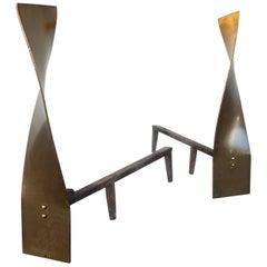 Minimalist Period Sculptural Bronze Andirons