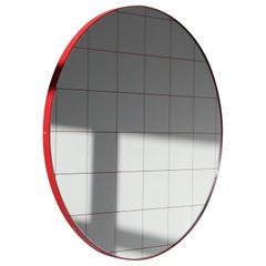 Minimalist Red Frame with Red Grid Orbis Circular Wall Mirror, Regular