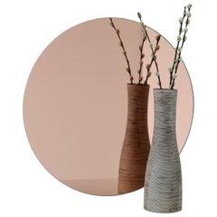 Orbis™ Rose / Peach Tinted Round Contemporary Frameless Mirror - Small