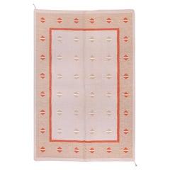 Minimalist Scandinavian Rollaken Flatweave Rug, Pink Field, Orange Accents