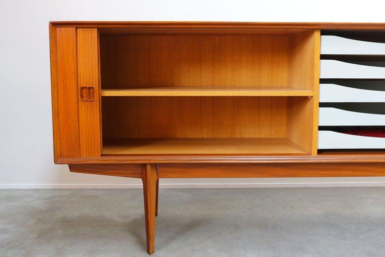 Mid-Century Modern Minimalist Sideboard / Credenza by Oswald Vermaercke for V-Form 1950s in Teak For Sale