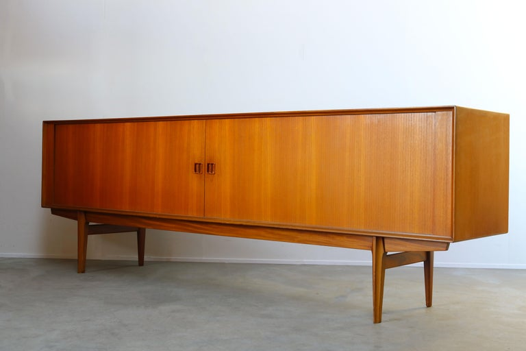 Mid-20th Century Minimalist Sideboard / Credenza by Oswald Vermaercke for V-Form 1950s in Teak For Sale