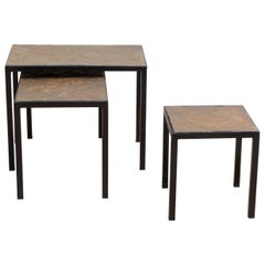 Minimalist Slate Stone and Metal Nesting Tables