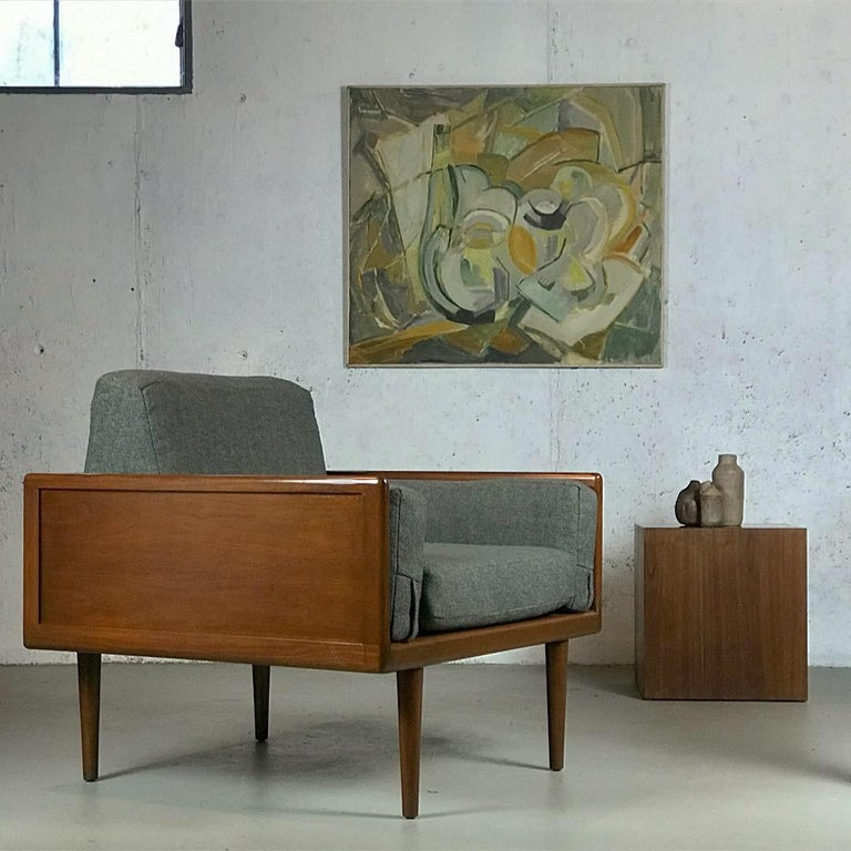 Mel Smilow for Smilow-Thielle walnut case Minimalist sofa and lounge chair seating group.  Sofa is: 84.5