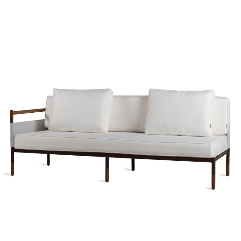 Modern Minimalist Sofa In Hardwood Metal And Fabric Usable Outdoors For