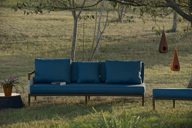 Brazilian Minimalist Sofa in Hardwood, Metal and Fabric, Usable Outdoors For Sale