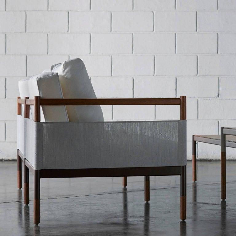 Minimalist Sofa in Hardwood, Metal and Fabric, Usable Outdoors In New Condition For Sale In Sao Paolo, SP