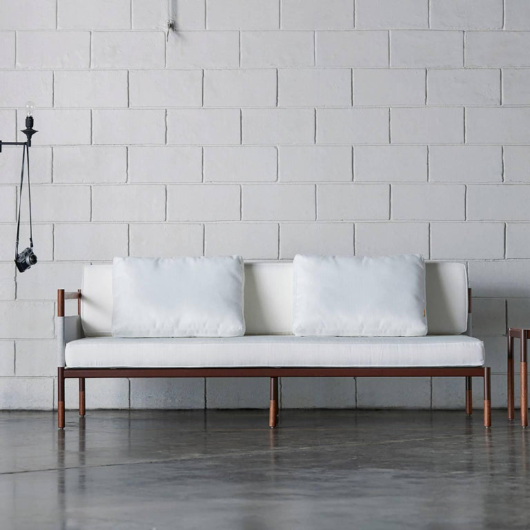 Contemporary Minimalist Sofa in Hardwood, Metal and Fabric, Usable Outdoors For Sale