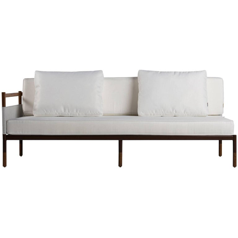 Minimalist Sofa in Hardwood, Metal and Fabric, Usable Outdoors For Sale