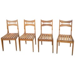 Minimalist Solid Oak Slats Chairs by Guillerme & Chambron, France, 1960s