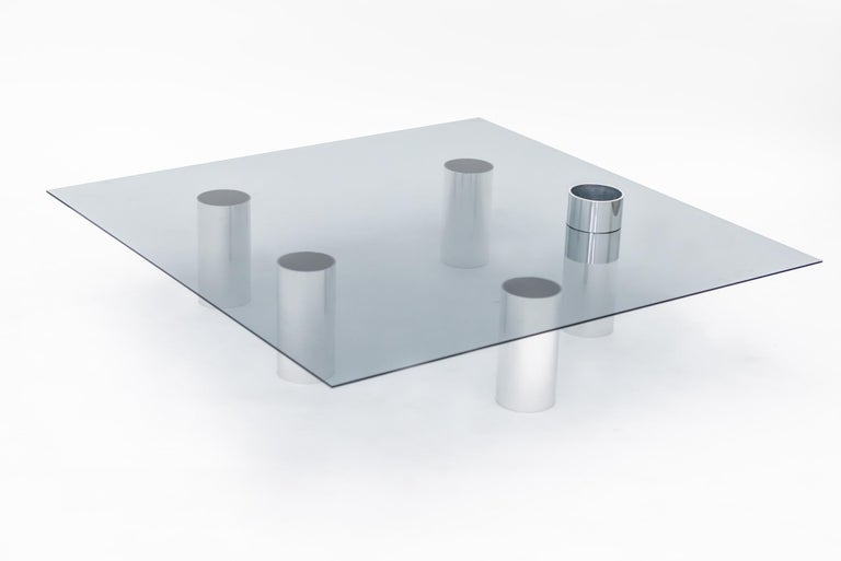 Modern Minimalist Square Glass Coffee Table with Polished Aluminum Legs by Deon Rubi For Sale