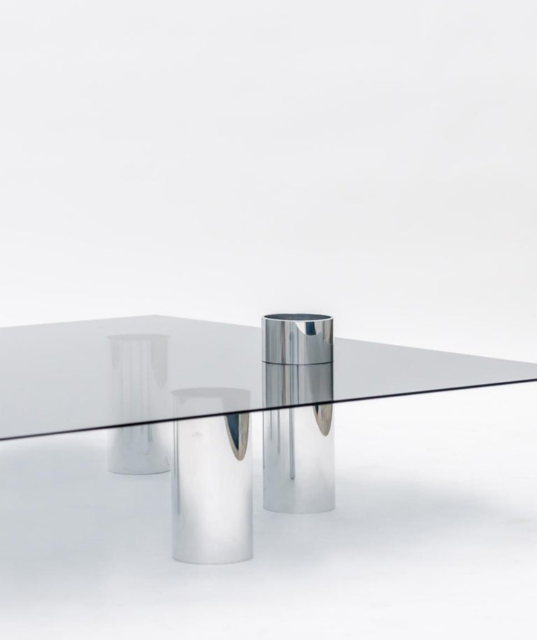 American Minimalist Square Glass Coffee Table with Polished Aluminum Legs by Deon Rubi For Sale