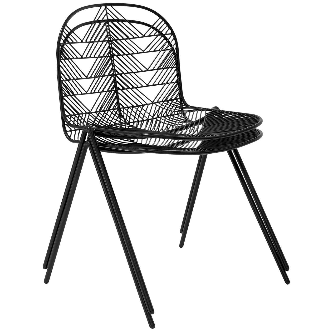 Minimalist Stacking Wire Chair, Modern Side Chair by Bend Goods in Black