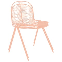 Minimalist Stacking Wire Chair, Modern Side Chair by Bend Goods in Peachy Pink