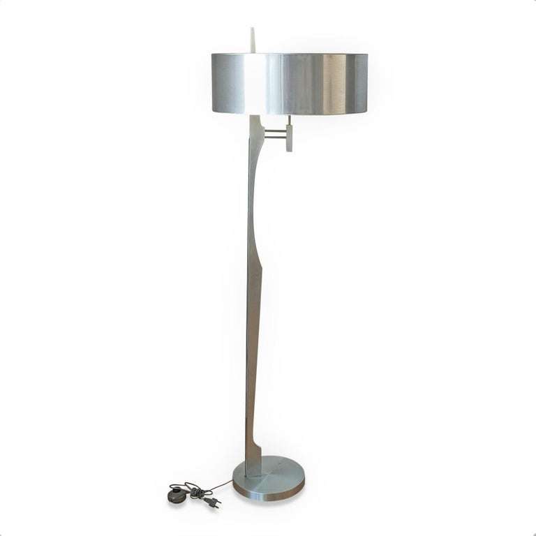 Mid-Century Modern Minimalist Stainless Steel Floor Lamp Attributed to Maison Jansen, France 1970s For Sale