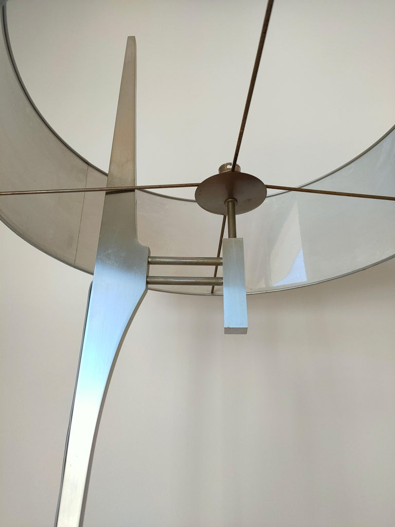 French Minimalist Stainless Steel Floor Lamp Attributed to Maison Jansen, France, 1970s For Sale