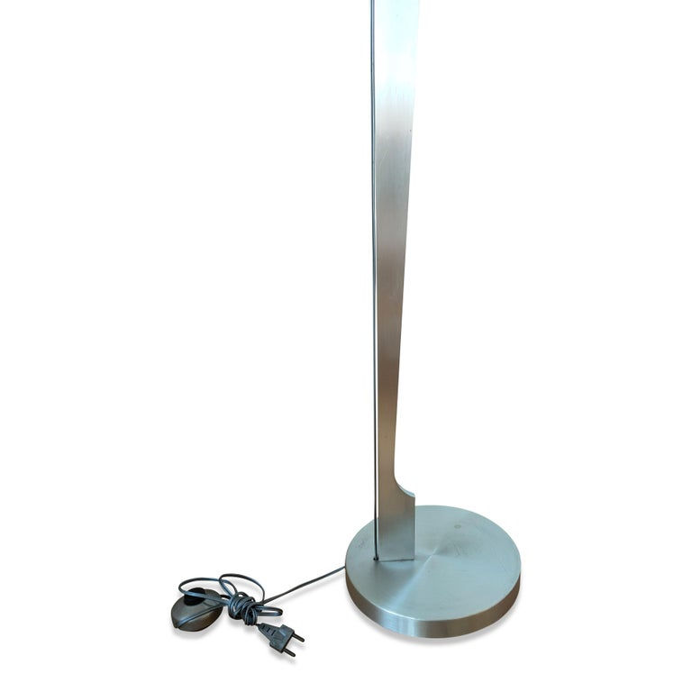 Late 20th Century Minimalist Stainless Steel Floor Lamp Attributed to Maison Jansen, France, 1970s For Sale