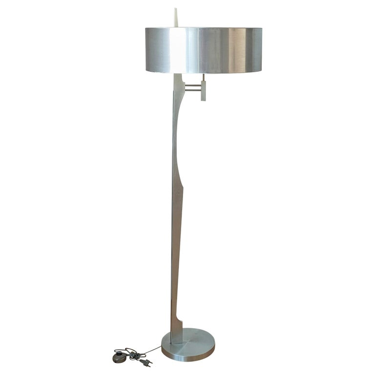 Minimalist Stainless Steel Floor Lamp Attributed to Maison Jansen, France, 1970s For Sale