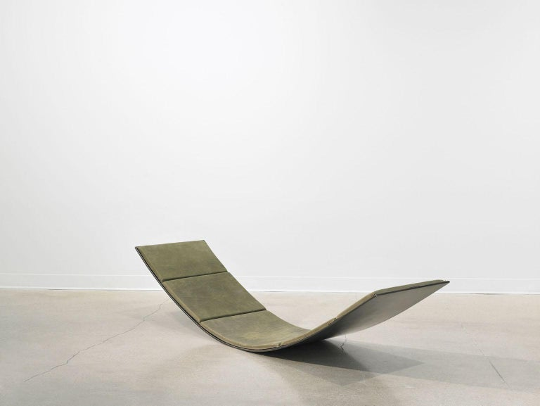 The 'Sway' lounge chair is a minimalistic interpretation of a rocker, cradle and/or hammock with an elegant and structured appeal. It is formed out of one solid steel plate and comes in various patinas, shown in natural, as wells as powder coated