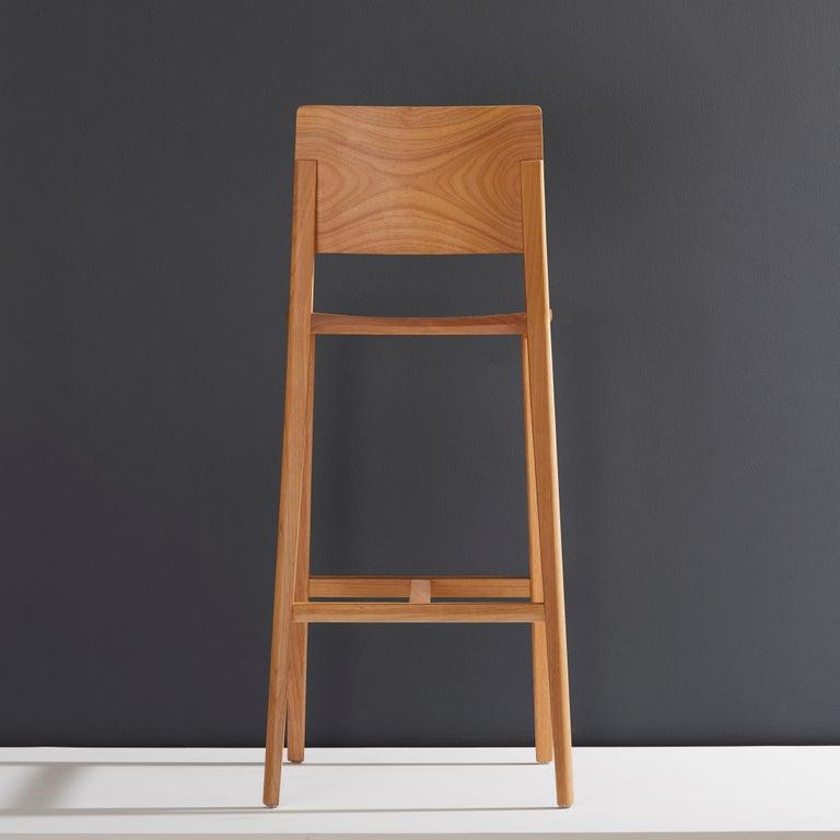 Minimalist Style, Stool in Black Ebonized Solid Wood For Sale 3
