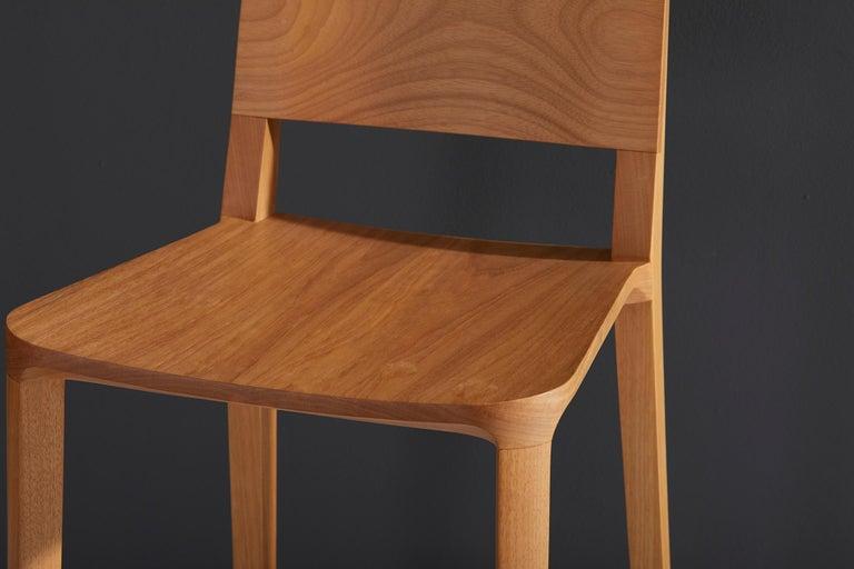 Minimalist Style, Stool in Black Ebonized Solid Wood For Sale 5