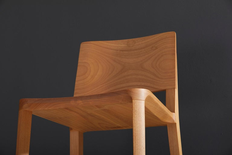 Minimalist Style, Stool in Black Ebonized Solid Wood For Sale 6