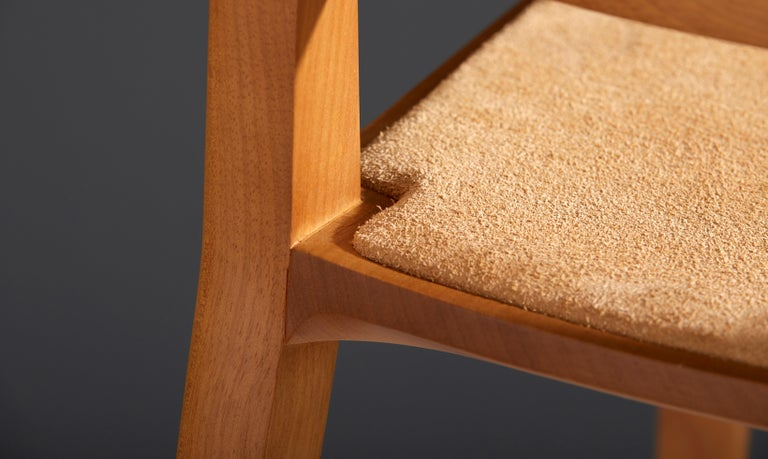 Minimalist Style, Stool in Black Ebonized Solid Wood For Sale 7