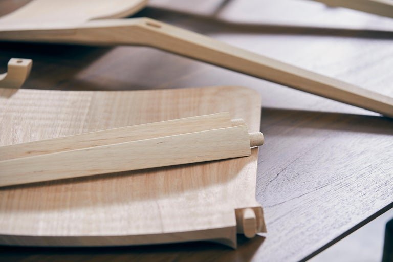 Minimalist Style, Stool in Black Ebonized Solid Wood For Sale 11