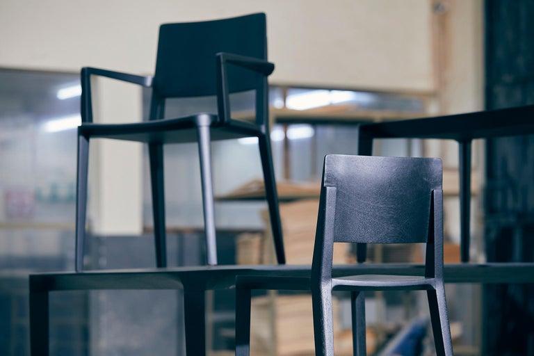 Minimalist Style, Stool in Black Ebonized Solid Wood For Sale 12