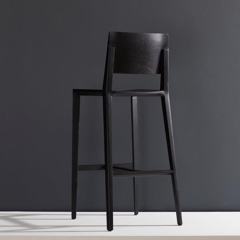 Modern Minimalist Style, Stool in Black Ebonized Solid Wood For Sale
