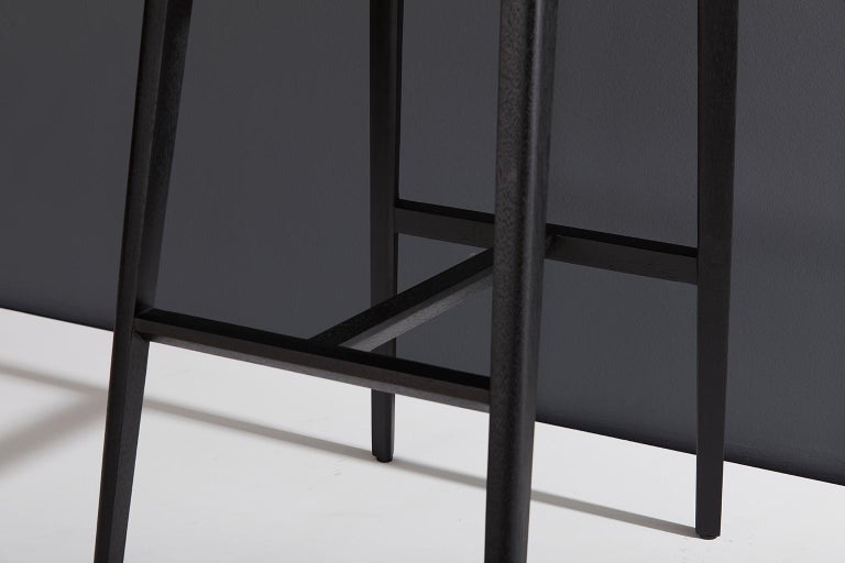 Minimalist Style, Stool in Black Ebonized Solid Wood In New Condition For Sale In Sao Paolo, SP