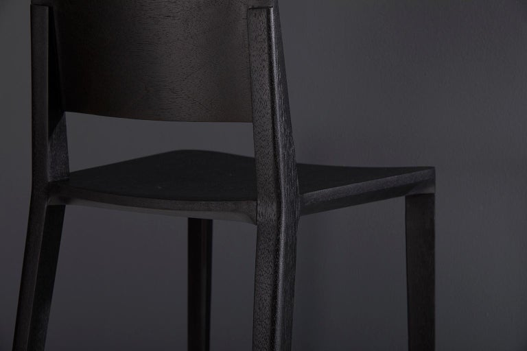 Contemporary Minimalist Style, Stool in Black Ebonized Solid Wood For Sale