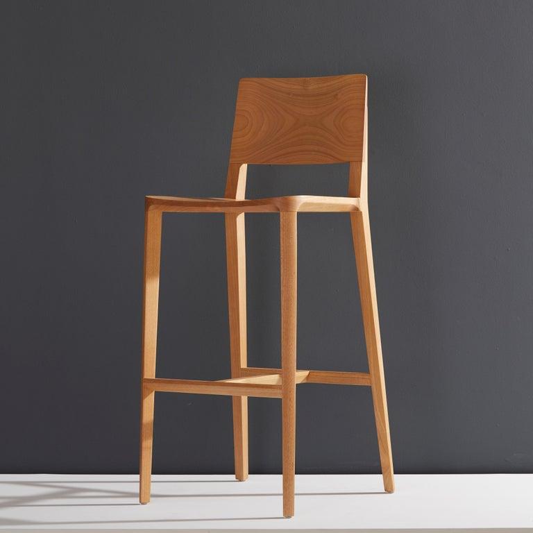 Textile Minimalist Style, Stool in Black Ebonized Solid Wood For Sale