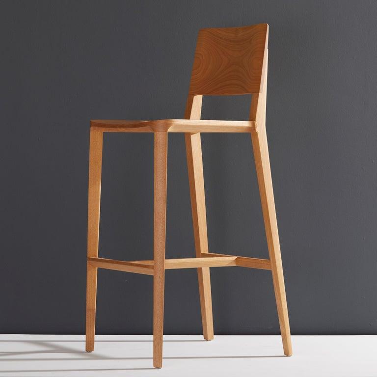 Minimalist Style, Stool in Black Ebonized Solid Wood For Sale 1