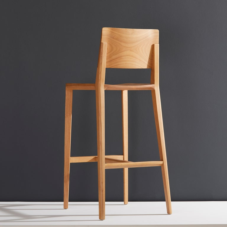 Minimalist Style, Stool in Black Ebonized Solid Wood For Sale 2