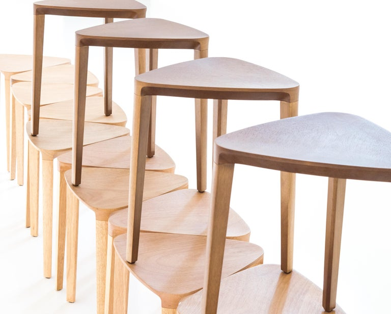 Modern Minimalist Style, Stool in Natural Solid Wood For Sale