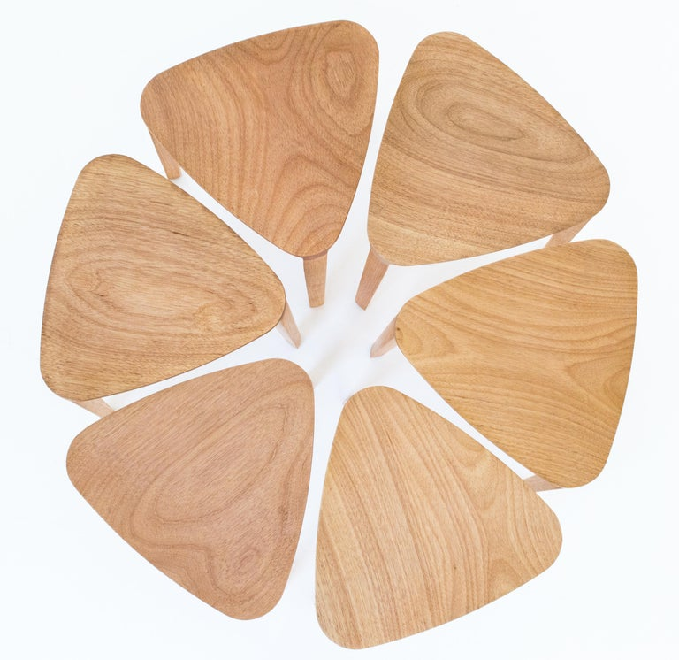Brazilian Minimalist Style, Stool in Natural Solid Wood For Sale