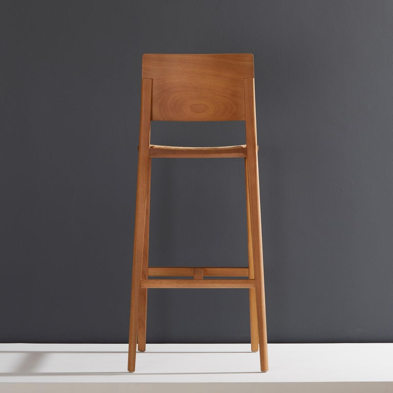 Modern Minimalist Style, Stool in Natural Solid Wood, Leather Seating For Sale