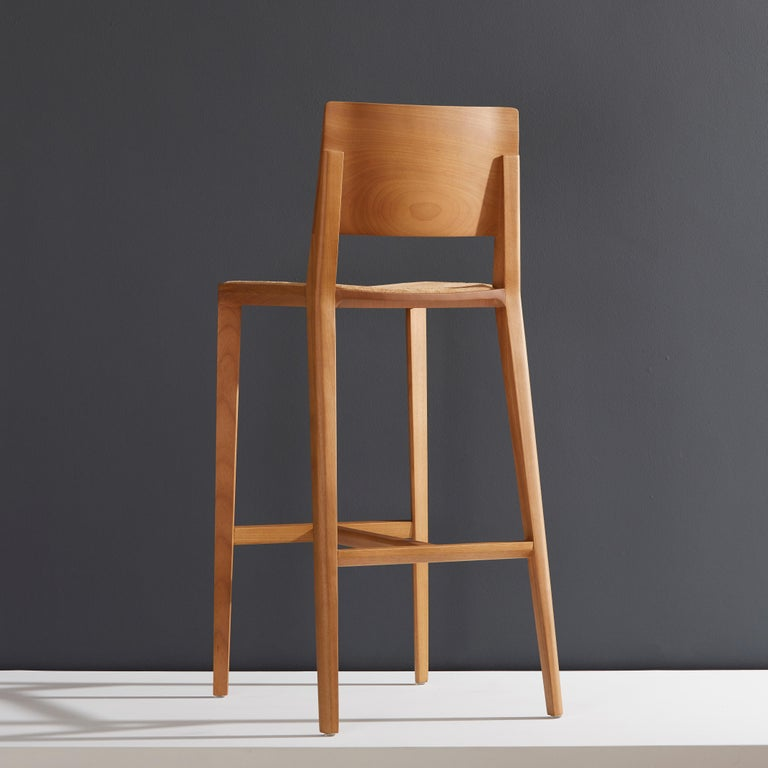 Brazilian Minimalist Style, Stool in Natural Solid Wood, Leather Seating For Sale