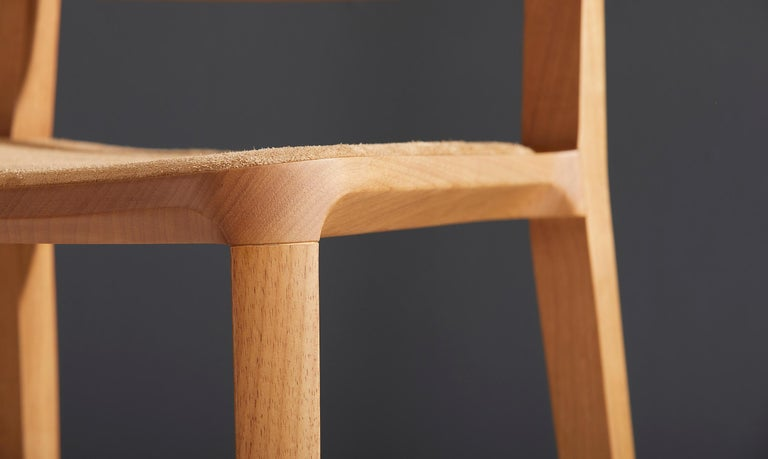 Textile Minimalist Style, Stool in Natural Solid Wood, Leather Seating For Sale