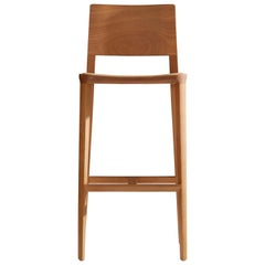 Minimalist Style, Stool in Natural Solid Wood, Leather Seating