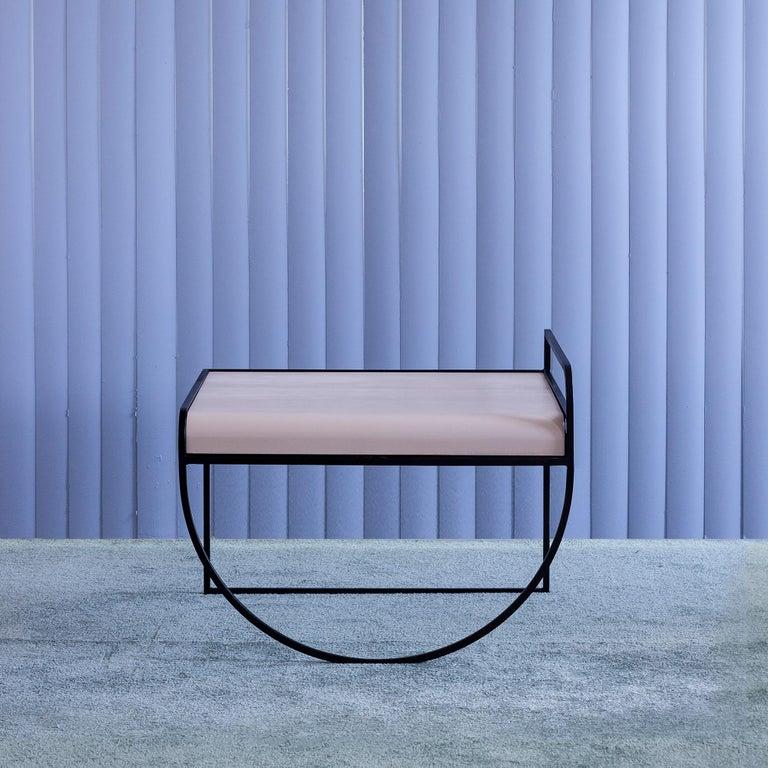Modern Minimalist SW Side Table in Cream Powder-Coated Steel by soft-geometry For Sale