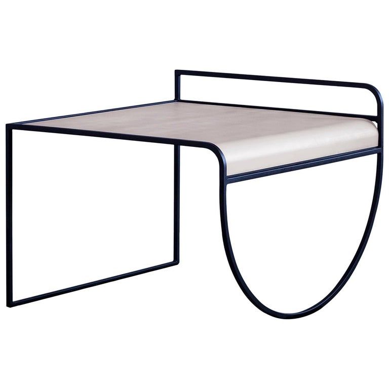 Minimalist SW Side Table in Cream Powder-Coated Steel by soft-geometry For Sale