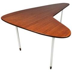 Minimalist Teak and Metal Boomerang 1950s Modernist Coffee Table