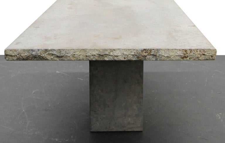 Minimalist Travertine Concrete Industrial Pedestal Dining Table In Good Condition For Sale In Las Vegas, NV