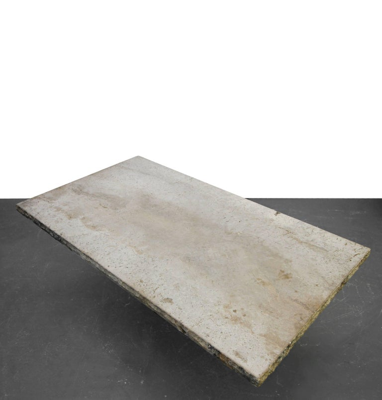 20th Century Minimalist Travertine Concrete Industrial Pedestal Dining Table For Sale