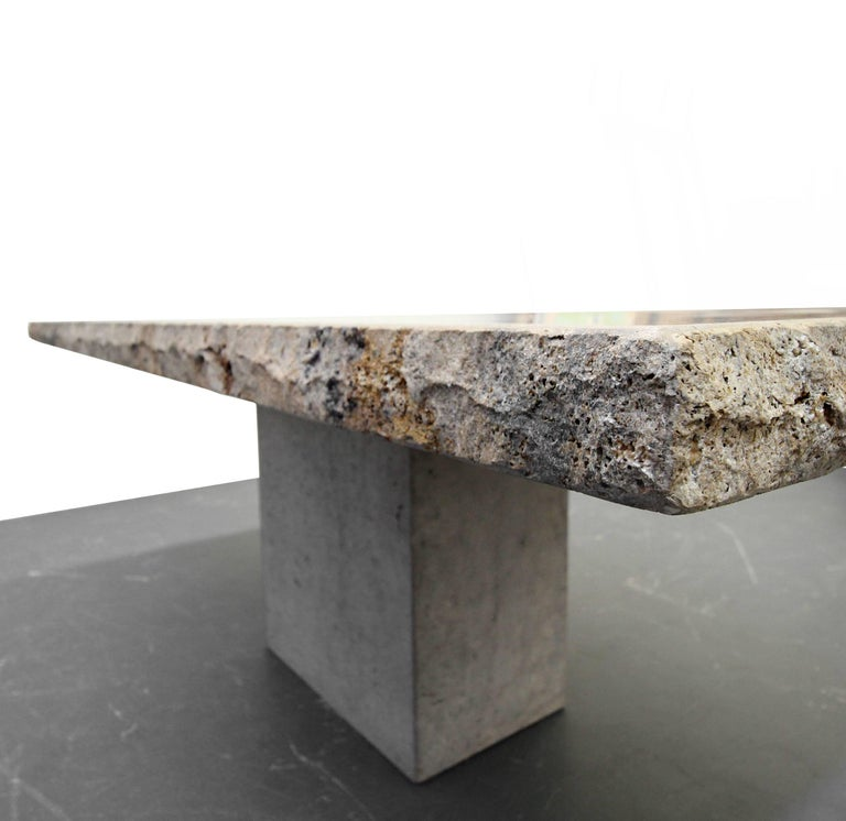 Minimalist Travertine Concrete Industrial Pedestal Dining Table For Sale 2