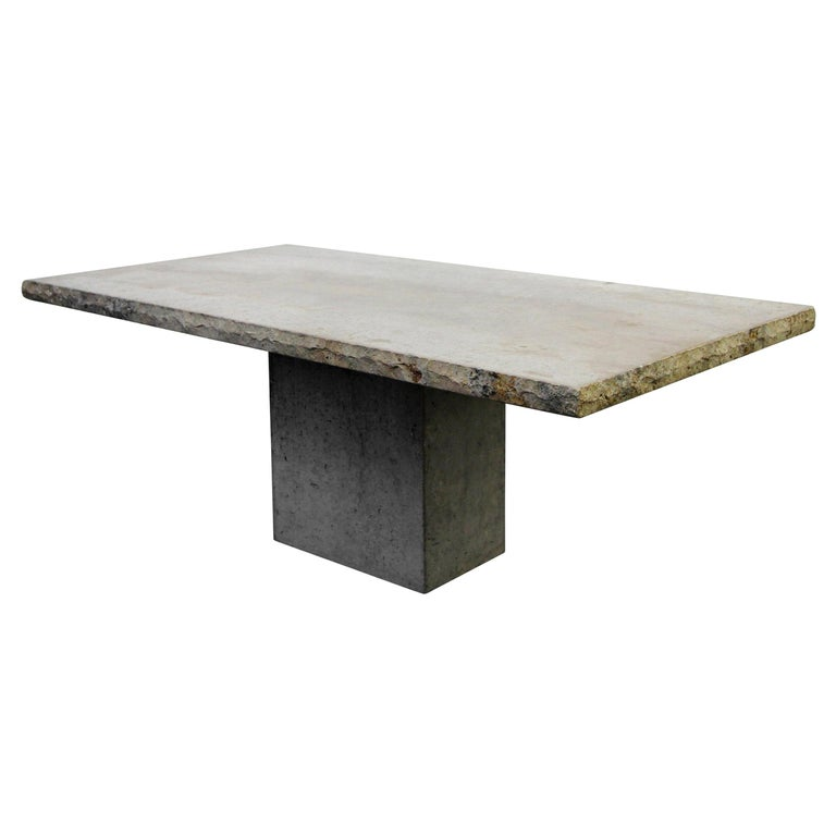 Minimalist Travertine Concrete Industrial Pedestal Dining Table For Sale