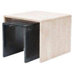 Minimalist Travertine/Marble Nesting Side Table Set, 1970s