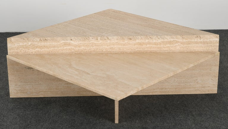 Late 20th Century Minimalist Two Tier Travertine Marble Coffee Table, 1980s
